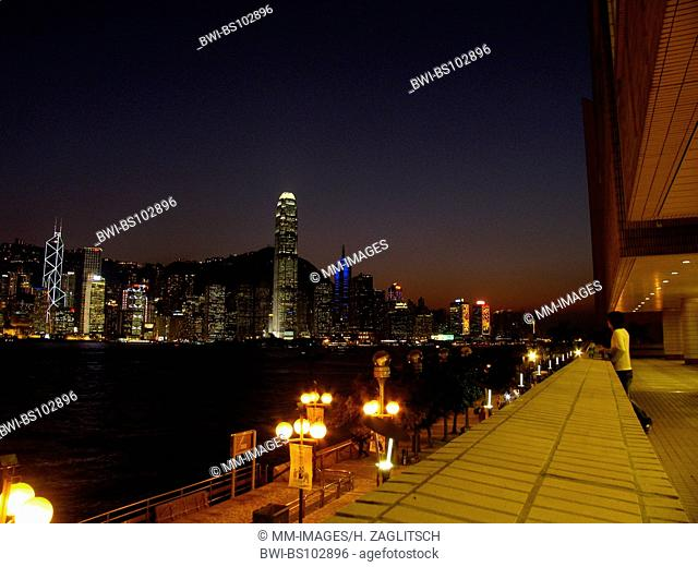 Victoria Harbour and the skyline of the Central District in Hong Kong in the evening, China
