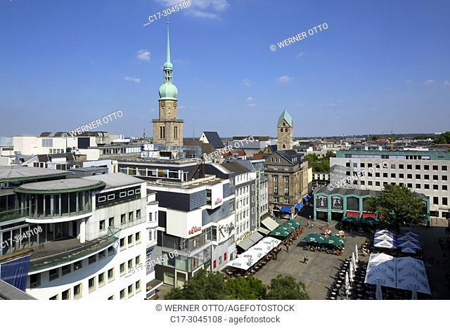 Dortmund, D-Dortmund, Ruhr area, Westphalia, North Rhine-Westphalia, NRW, city view, panoramic view, Alter Markt, old market place, Reinoldi church