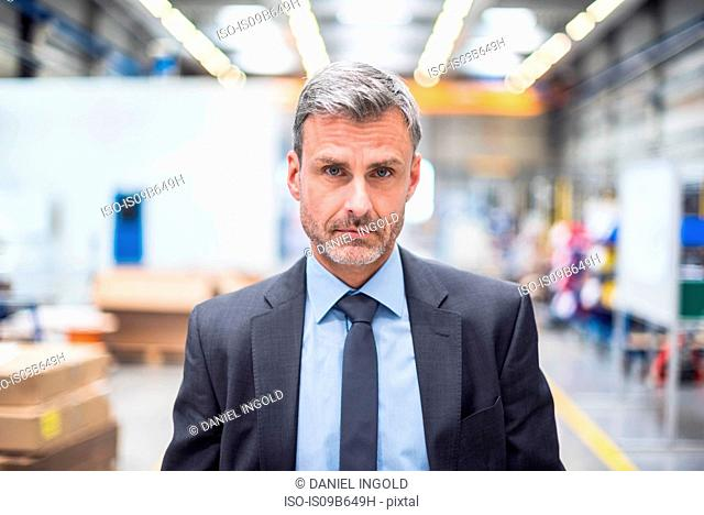 Portrait of serious business manager in distribution warehouse
