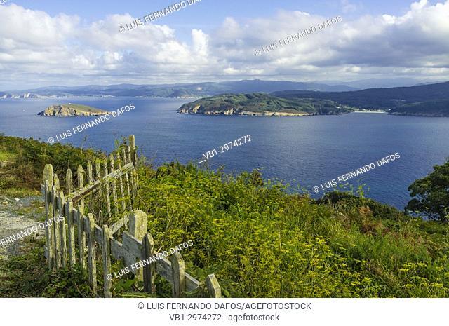 Coelleira island and Ria - estuary do Barqueiro as seen from Estaca de Bares cape, Coruna and Lugo provinces, Galicia, Spain, Europe