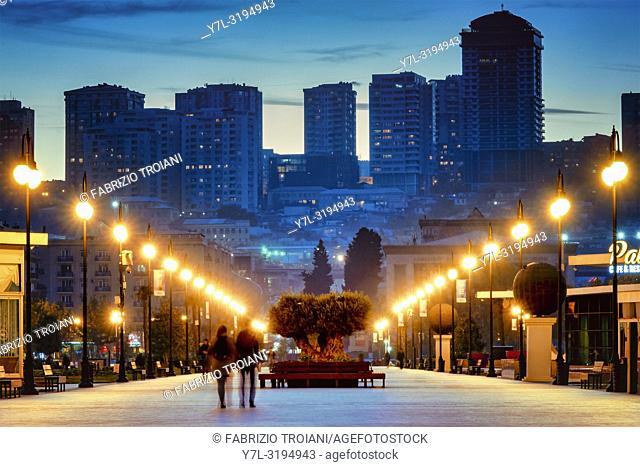 Winter boulevard, Baku, Azerbaijan
