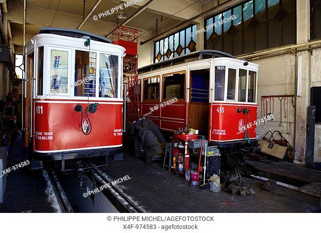Trams, Istiklal Caddesi, Taksim district, Istanbul, Turkey
