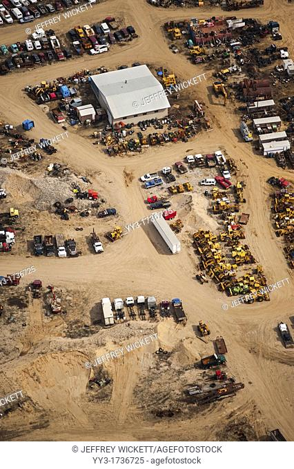 Aerial view of junk yard, Lake county, Michigan, USA