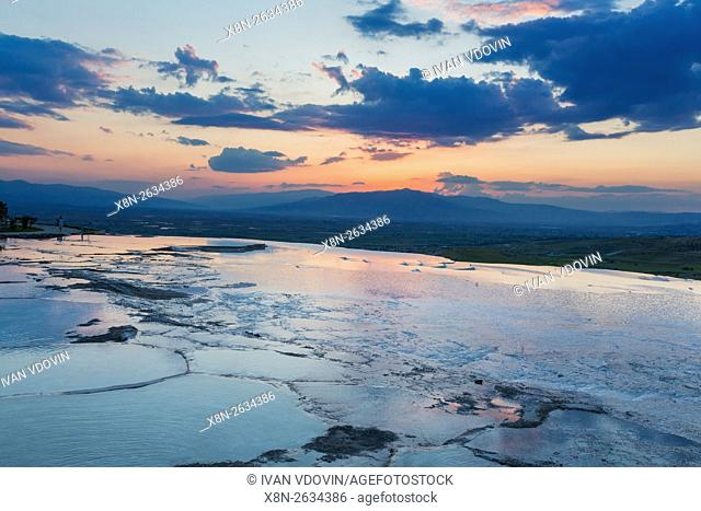 Travertine terrace, Pamukkale, Denizli Province, Turkey