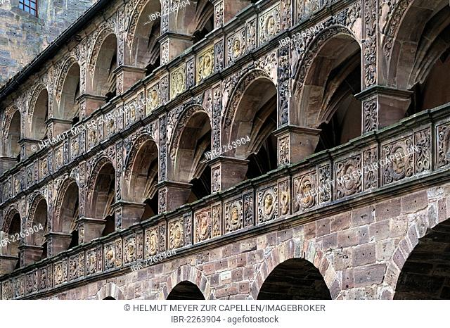 Plassenburg Castle, detail view of Schoener Hof, beautiful courtyard, built 1564-1569 by Caspar Vischer, arcades with two-dimensional or planar Renaissance...