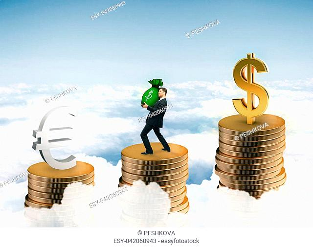 Businessman holding money sack while standing on abstract coin ladder with euro and dollar signs on sky background. Currency concept. 3D Rendering