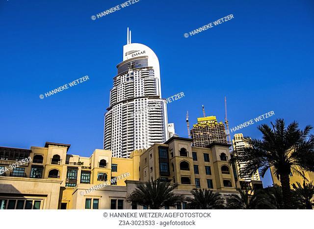 The Emaar Tower seen from the Souk Al Bahar in Dubai