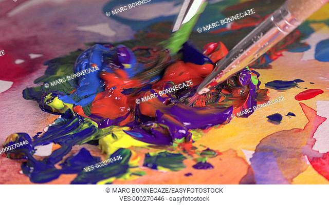 mixture of several colors gouache