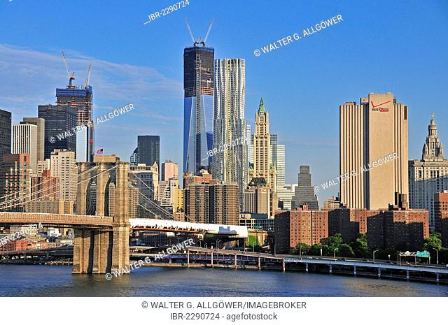 Skyline of Lower Manhattan, at centre glass facade of the One World Trade Center, post-modern 8 Spruce Street tower and the neo-Gothic designed Woolworth...