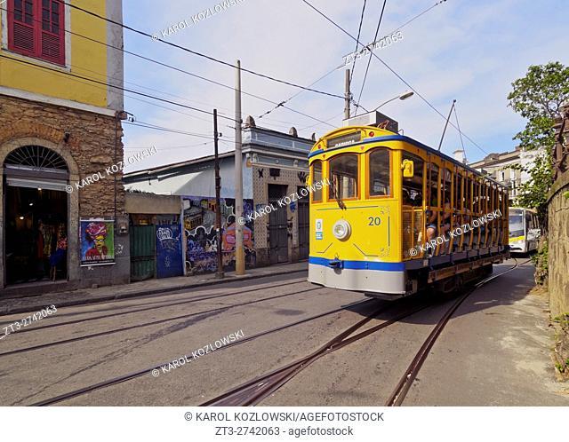 Brazil, City of Rio de Janeiro, The Santa Teresa Tram near Largo do Guimaraes