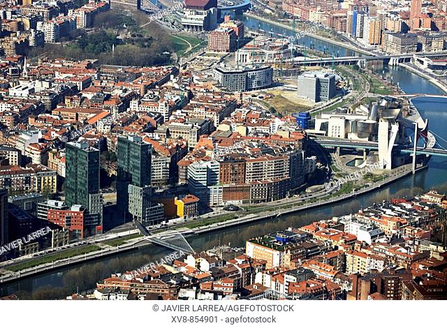 Isozaki Towers (left) and Guggenheim Museum (right). Bilbao, Biscay, Basque Country, Spain