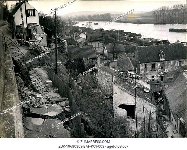 Mar. 03, 1968 - House collapse in Paris suburbs lanslide: 2 Houses, collapsed as the Hillop of conflans Saint Honorine near Paris, caved in