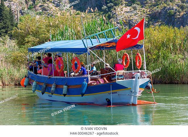 Boats on river Dalyan, Mugla Province, Turkey