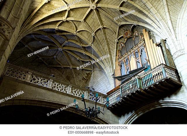 old organ in the parish church of Santa Maria, Sadaba, Saragossa, Spain