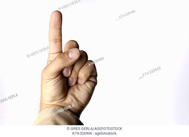 Hand Holding Up Index Finger