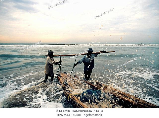 Fishermen at marina beach , Madras Chennai , Tamil Nadu , India