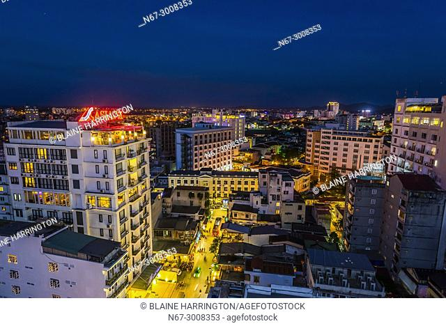 High angle view of buildings in Hue, Central Vietnam