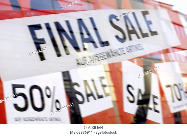 Clothing business, display windows,   Discount signs, fuzziness,  Department store, signs, signs, attention, sale, sale, abandonment of business, clearance sale