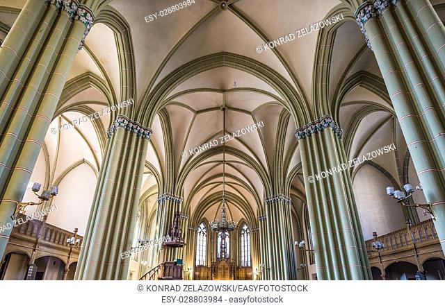 Interior of Lutheran Saint Gertrude Old Church at Gertrudes Street in Riga, capital city of Republic of Latvia