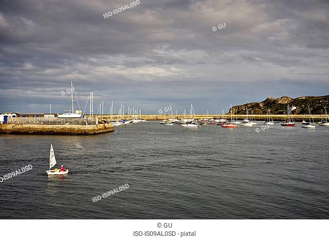 View of sailboats and harbor, Howth, Dublin Bay, Republic of Ireland