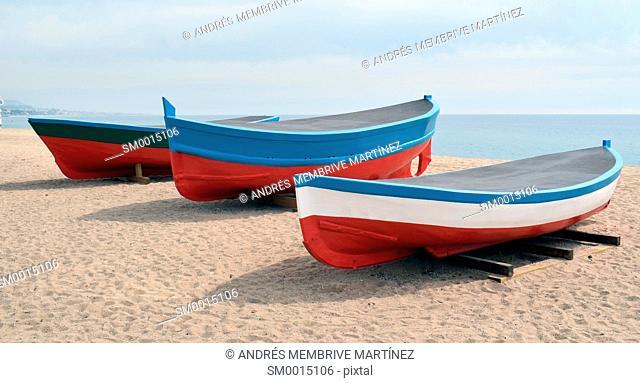 Boats in Badalona's beach