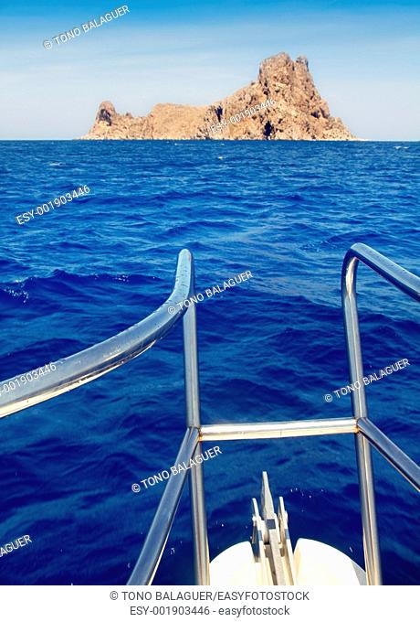 boat bow in Es Vedra of Ibiza island at Balearic Islands