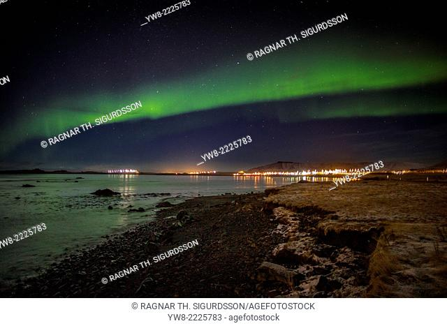 Aurora Borealis or Northern lights, Kjalarnes, Reykjavik, Iceland