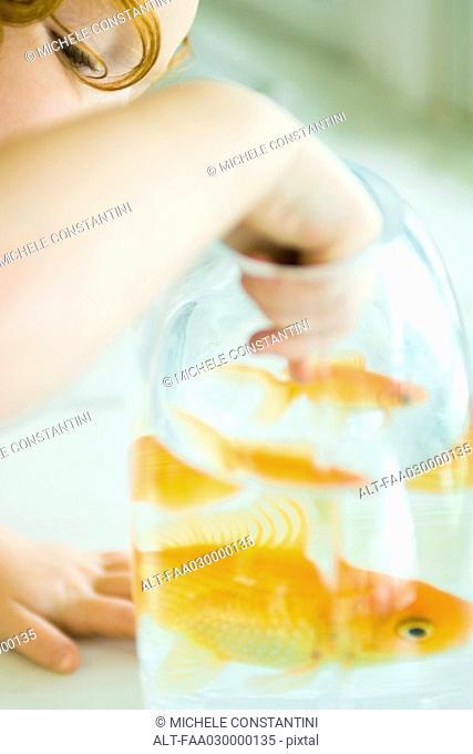 Girl reaching into goldfish bowl, cropped