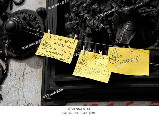 Frankreich, Paris, Place de la Republique, Je suis Charlie