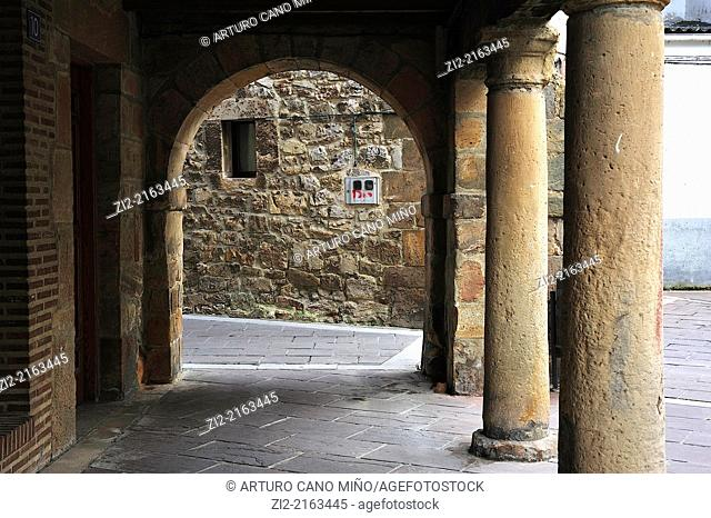 Street with arcades, Aguilar de Campoo, Palencia, Spain
