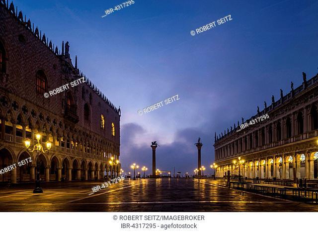 Doge's Palace at the blue hour, Venice, Veneto, Italy