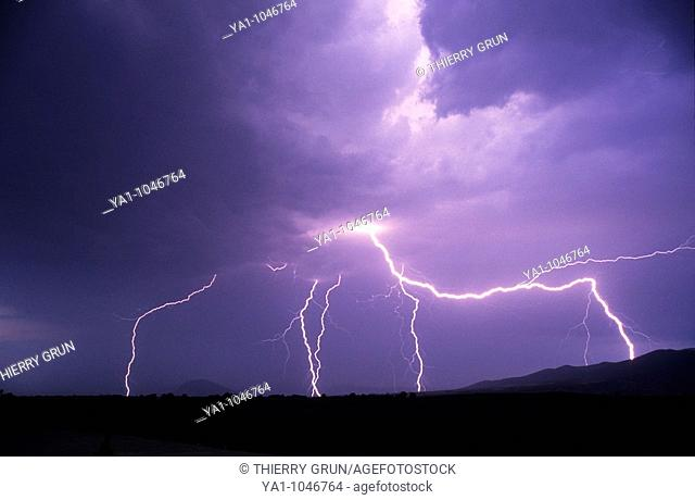flashes of lightnings during a thunderstorm, Saint girons, France, Ariege
