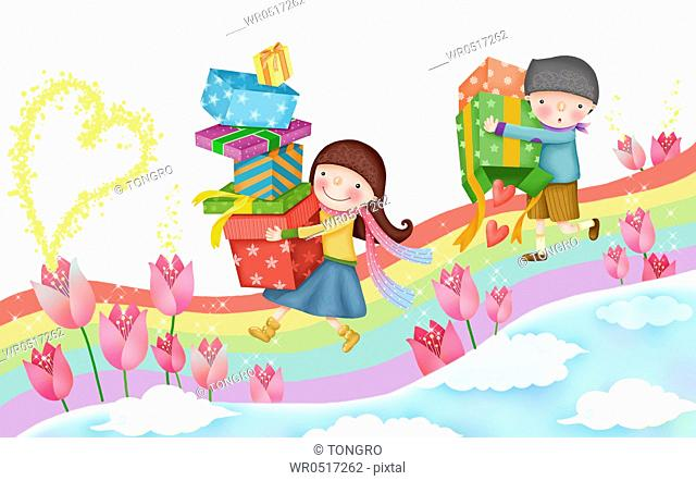 Girl and boy carrying gift boxes