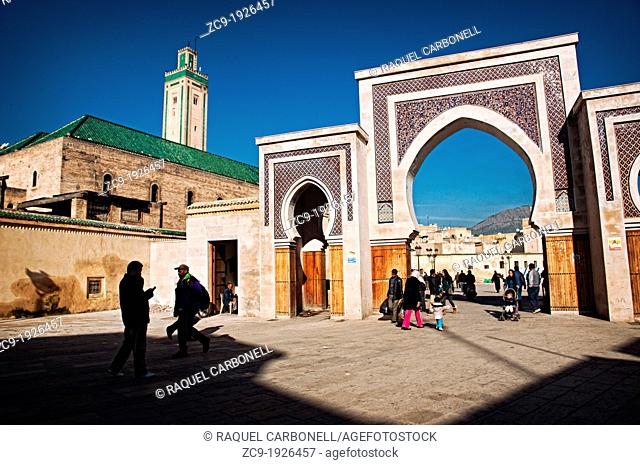 Decorated gate and mosque in Fez Medina, Fez el Bali, Imperial city, Morocco