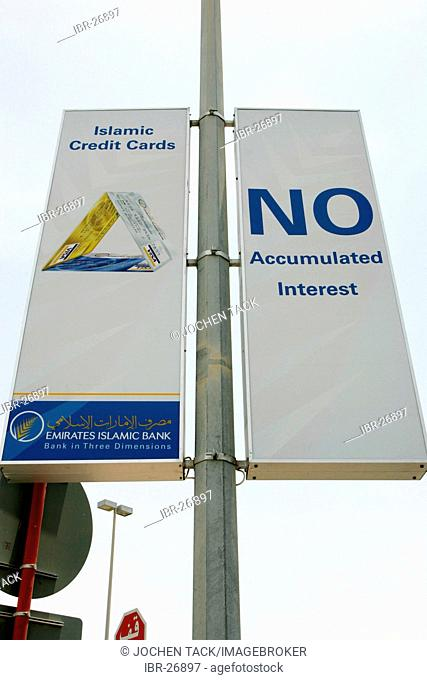 ARE, United Arab Emirates, Abu Dhabi: Promotion for islamic credit cards of the Emirates Islamic Bank