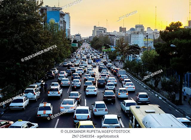 Evening traffic jam in Tehran one of the most polluted cities in the world according to World Health Organization, Iran