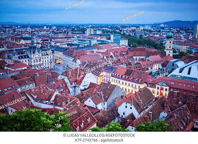 Aerial view, at left City Hall on Hauptplatz, at right Franciscan Church, Graz, Austria