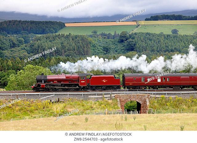 Steam locomotive LMS Jubilee Class 45699 Galatea on the Settle to Carlisle Railway Line near Lazonby, Eden Valley, Cumbria, England, UK