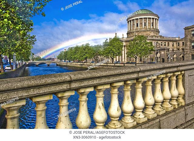 Rainbow, Four Courts, Ireland's main courts building Na Ceithre Cúirteanna, located on Inns Quay, River Liffe, Dublin city, province of Leinster, Ireland