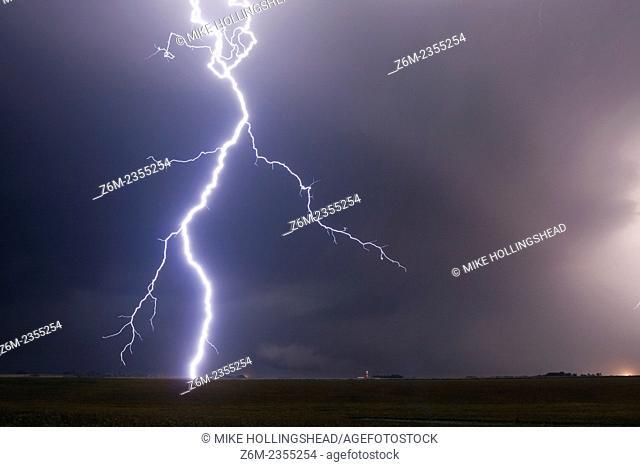 Bright lightning slams down from a Nebraska supercell storm
