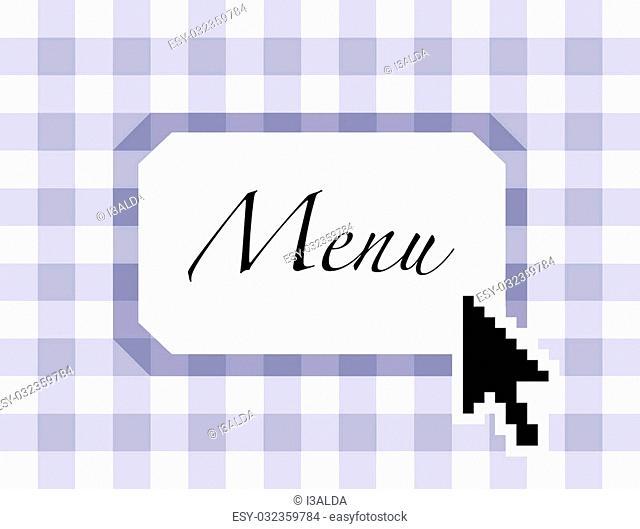 Restaurant menu online, with arrow pointer - illustration