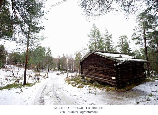 Sundsvall, Sweden. Authentic Swedish cabin in the mountains forrest above the city