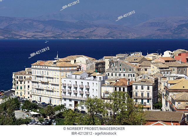 View of new houses and the Albanian coast from the new fortress, historic centre, Corfu, Kerkyra, Unesco World Heritage Site, the island of Corfu