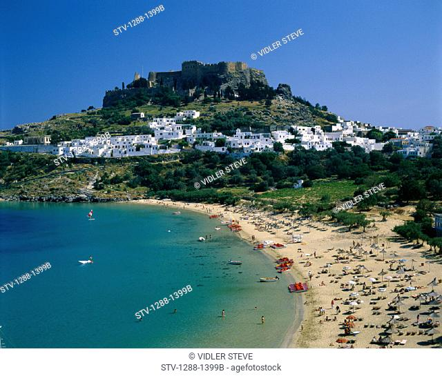 Acropolis, Beach, Coastline, Crowd, Greece, Europe, Holiday, Landmark, Lindos, Outdoors, People, Residential, Resort, Rhodes, To