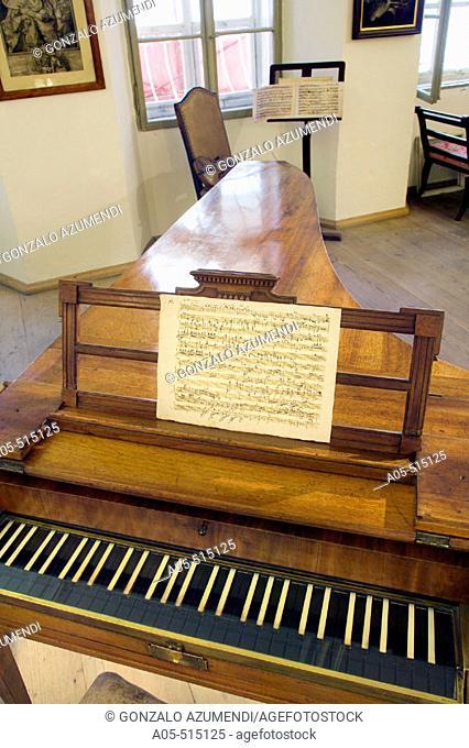 Mozart's piano (original piano by Anton Walter, 1780) in Mozart's birthplace, Salzburg. Austria