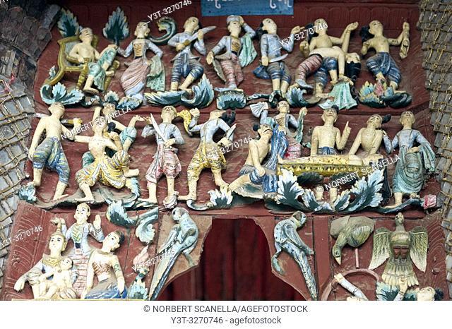 Myanmar (ex Birmanie). Bagan, région de Mandalay. Pagode Shwezigon. Bas-relief en bois sculpté / Myanmar (ex Birmanie). Bagan, Mandalay region