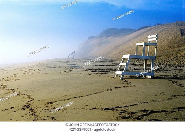 Lifeguard chair on a deserted beach, Nauset Beach, Cape Cod National seashore, Cape Cod, MA