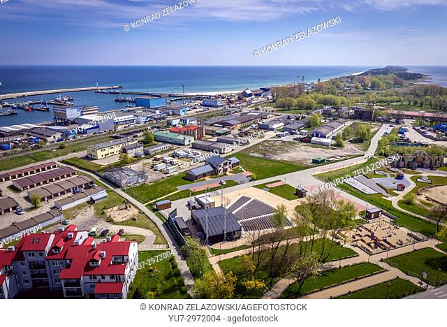 Aerial view from tower of so called House of Fisherman in Wladyslawowo, Poland with Hel Peninsula separating the Bay of Puck from Baltic Sea on background