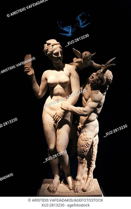 Group of Aphrodite Pan and Eros. From Delos about 100 BC in the National museum of Athens