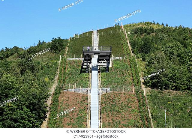 Germany, Herten, Ruhr area, North Rhine-Westphalia, hard coal mining, coal-pit Ewald, slag heap Hoheward, stairs, stairway, staircase